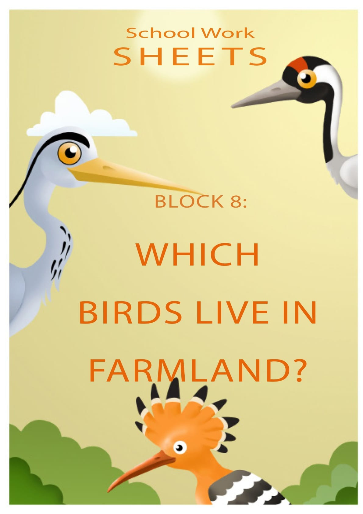 Which birds live in farmland?